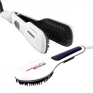 Kit Escova Alisamento a Vapor Ulike Steam Brush Branca + Escova Alisamento Magic Ref.10208