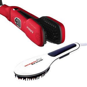 Kit Escova Alisamento a Vapor Ulike Steam Brush Vermelha + Escova Alisamento Magic Brush Ref.10209